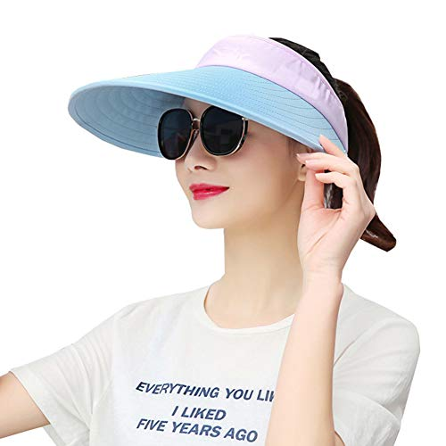 Sun Visor Hats Women Large Brim Summer UV Protection Beach Cap Pink ()