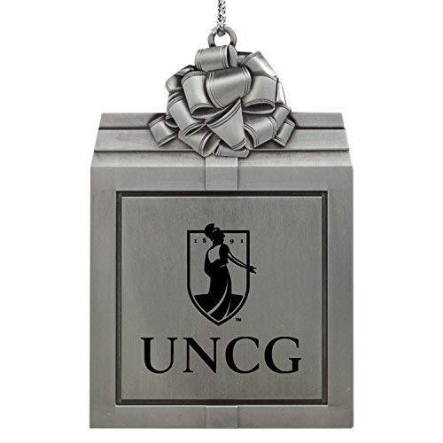 LXG, Inc. University of North Carolina at Greensboro-Pewter Christmas Holiday Present Ornament-Silver (Christmas Greensboro)