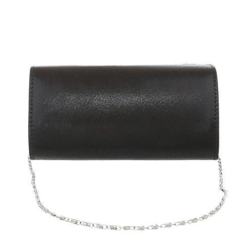 iTal-dEsiGn Damentasche Kleine Abendtasche Clutch Handtasche Synthetik TA-31002 Schwarz Silber vGwsk7q