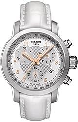 Tissot Silver Dial SS Leather Chronograph Quartz Ladies Watch T0552171603201