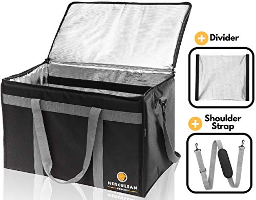 - Commercial Large Premium Food Delivery Bag w/Divider | Thermal Insulated to Keep Cold or Hot Food | Durable Heavy Duty | Ideal for Catering Transport, Grocery Carrier, Ubereats, Doordash, Grubhub