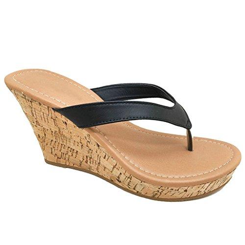 Women Platform Thong Sandals Fashion Colors Wedge Heel Shoes (Black-B) 7.5 (Black High Heel Thong)
