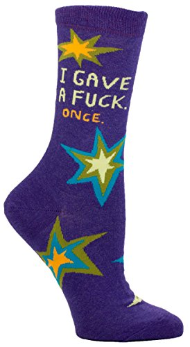 Blue Q Women's Novelty Crew Socks - I Gave a F*ck...Once (Womens Size 5-10) with Sock Ring (Ck Ring)