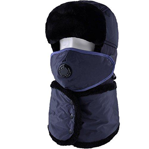 Sombrero De Bombardero Caliente De Invierno Para Hombre Sombrero De Piloto De Sombrero De Caza Orejera De Estilo Ruso Unisex Máscara A Prueba De Viento Sombrero De Esquí De Invierno Clásico Navy