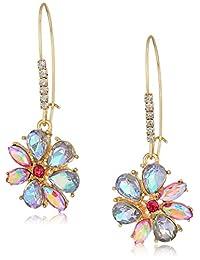 Betsey Johnson (GBG) Paradise Lost Women's Blue Stone Flower Drop Earrings, One Size
