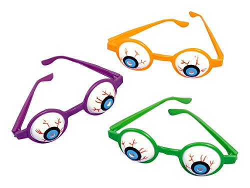 Halloween Glasses - Family Friendly Halloween Trick or Treat Creepy Eyeball Glasses Party Favour, Plastic, 5