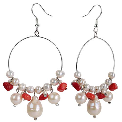 YACQ 925 Sterling Silver Hook Gemstone Pearl Natural Raw Stone Birthstone Hoop Dangle For Women (coral)