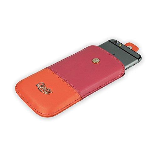QIOTTI Q. Pochette deux tons Grand Premium Eco Étui en cuir synthétique–Orange/Rose