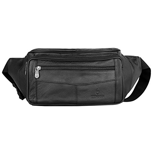 ZZNICK Large Size Genuine Leather Fanny Pack/Waist Bag/Organizer with Adjustable Belt,Four Zipper Pouchs For Men (C)