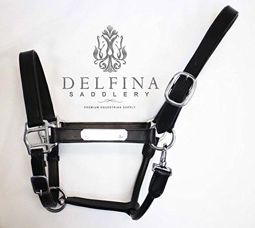 - Delfina Premium BLACK Soft Padded Leather Halter with Nameplate Full Size