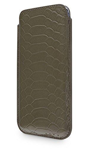 """WIIUKA Echt Ledertasche """"PURE"""" Apple iPhone X Hülle im Slim Design Green Effect extra Dünn Premium Leder Tasche"""