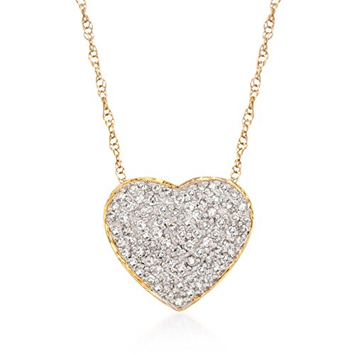 Ross-Simons 0.25 ct. t.w. Diamond Heart Pendant Necklace in 14kt Yellow Gold ()