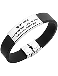 to My Wife I Loved You Then Women Bracelet Jewelry Gift for Her from Husband (Black)