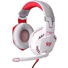 KOTION EACH G2000 Over-ear Game Gaming Headphone Headset Earphone Headband with Mic Stereo Bass LED Light for PC Game (White)