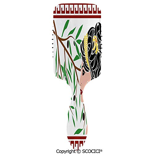 - Hair Brush for Women Girls Mythological Aphrodite Profile and Olive Branch Greek Borders Framework Print Hairbrush Air cushion comb for Long, Thick, Curly, Wavy, Dry or Damaged Hair