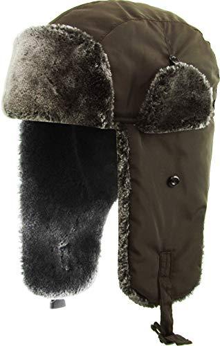 - KBW-629 BRN Solid Soft Fur Trapper Winter Hat