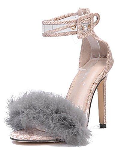 Bout Fourrées Stiletto Aisun Sexy Femme Ouvert Sandales Abricot USqqwEa