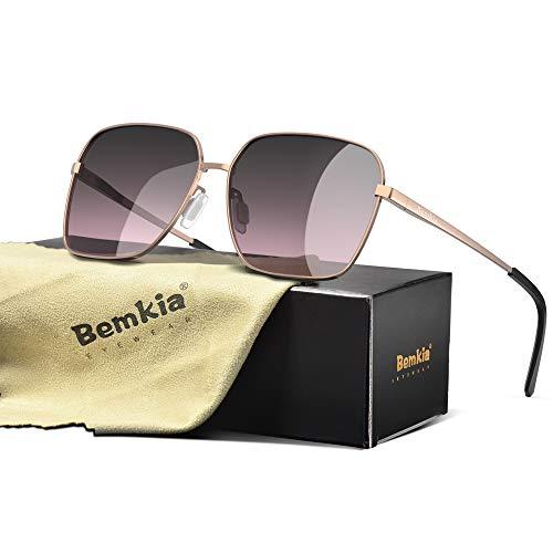Bemkia Sunglasses Men Women Rectangular Polarized Metal Frame with Spring Hinges UV400 Protection 62MM,Gradient Red