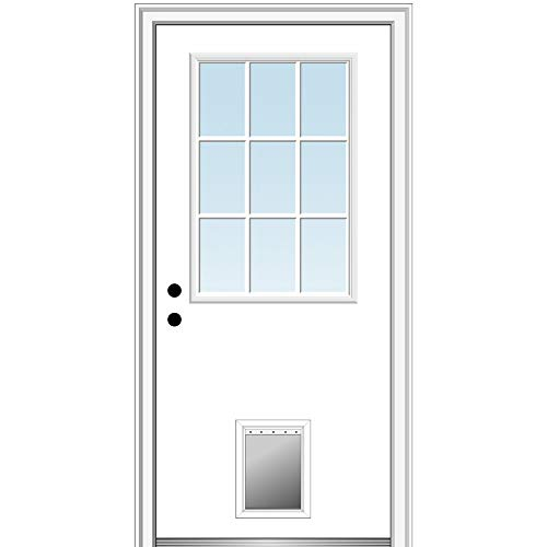 National Door Company ZZ00762R Steel Primed, Right Hand in-Swing, Prehung Front Door, 9 Lite with Pet Door, Clear Glass, 32