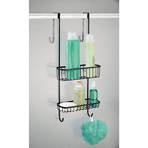 mDesign Organizador de ducha para colgar sobre la mampara - Práctico estante para ducha de metal resistente - Cesta de ducha sin taladro para los productos ...