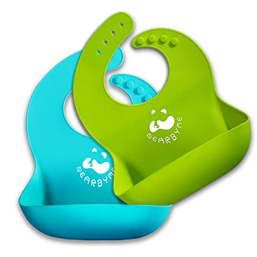 - Nearbyme Set of 2 Silicone Baby Bibs for Babies & Toddlers -Waterproof, Soft, Unisex, Non Messy (Blue, Green)
