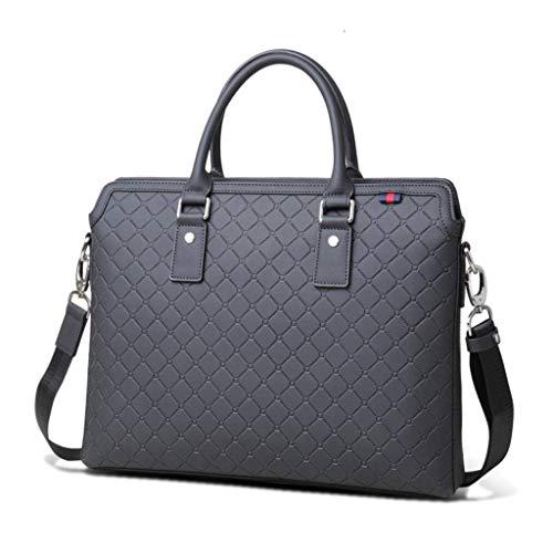cjc Men's Tote Bag Leather Men's Laptop Bag Embossed Briefcase - Black/Brown Black