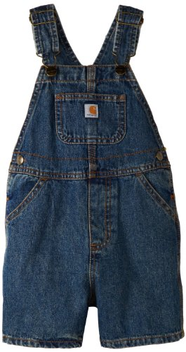 Carhartt Little Boys' Washed Denim Bib Shortall, Vintage Wash, 3T ()