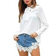 NUWFORFashion WomensBow Long Sleeve Cotton T-Shirt Casual Tops