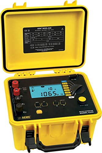 - AEMC 6240 Four-Input Digital Microohm Meter with 10A Kelvin Clips and DataView Software, 6 Test Ranges, 400 Ohms Resistance