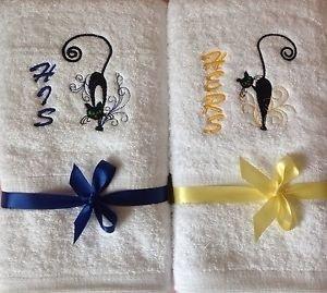 Toalla de mano Set de 2 toallas de algodón blanco bordado de su diseño de gato Katrina revenaugh texto Mum + Dad Mr Mrs: Amazon.es: Hogar