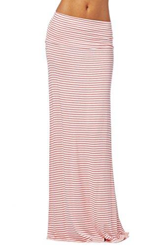 82 Days Women'S Rayon Span Various Print Maxi Skirt - C66 Pink & Ivory M
