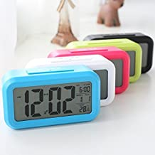 Zhimong Stylish Digital Alarm Clock, Led,Visible At Night, Snooze, Temperature, Date, Black, Green, Red, Blue
