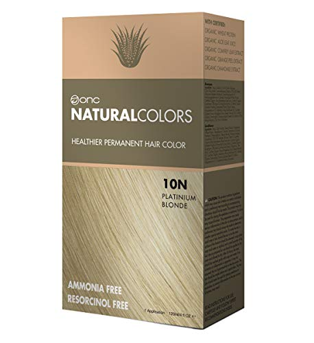 ONC NATURALCOLORS 10N Platinum Blonde Healthier Permanent Hair Color Dye 4 fl. oz. (120 mL) with Certified Organic Ingredients, Ammonia-free, Resorcinol-free, Paraben-free, Low pH, Salon Quality, Easy