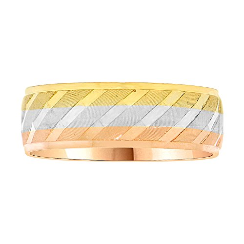 14k Tricolor Gold, Light Weight Band Ring Textured Slash Design Diacut 6mm Wide Size 12.5 by GiveMeGold