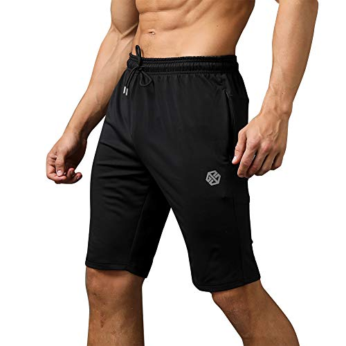 Gerlobal Men's Workout Shorts Gym Training Acitve Shorts Athletic Basketball Running Shorts Black,Medium