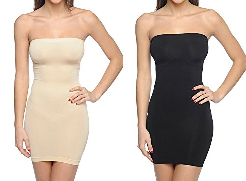 Body Beautiful Strapless Full Body Slip Shaper (1X/2X, 2 Pack Black/Nude)