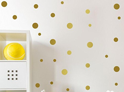 Little Star Wall Border - Jieyui Decorative Wall Sticker Bedroom Living Room Children's Room DIY Multi-size Dots Removable Art Wall Decor Stickers (Gold)