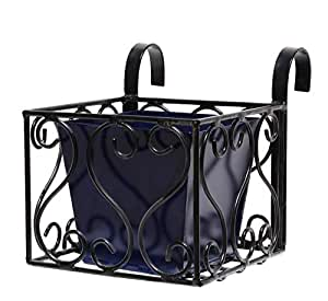Heart Design Iron Railing Holder With Square Metal Planter, Blue and Black - GR7MT03