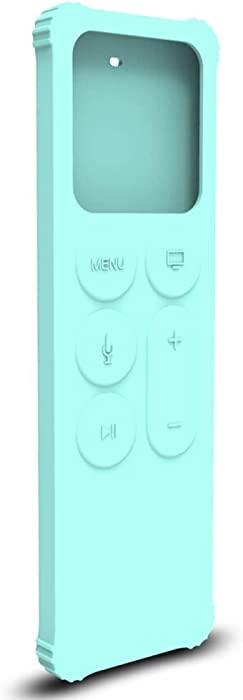 AWINNER Protective Case Compatible for Apple TV 4K 5th / 4th Gen Remote - Lightweight [Anti Slip] Shock Proof Silicone Cover for Apple TV Siri Remote Controller (Cyan)