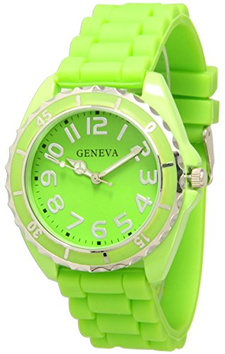 Geneva Silicone Watch Unisex Moving Bezel Wrist Watch Medium Size Dial (Lime Green) Bezel Green Wrist Watch