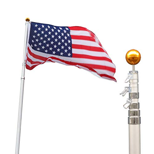 (F2C 20Ft Sliver Telescope Telescoping Flagpole Kit Flag Pole Commercial Sectional Ground Outdoor W/US American Flag Pole and Gold Ball Top Kit (Telescope-20FT W/Flag))