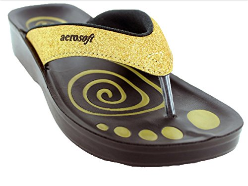 Aerosoft Womens Gliteratti Glitter Sandal Orthotic Comfort Shoes Flip Flops With Arch Support Gold YVstDski0