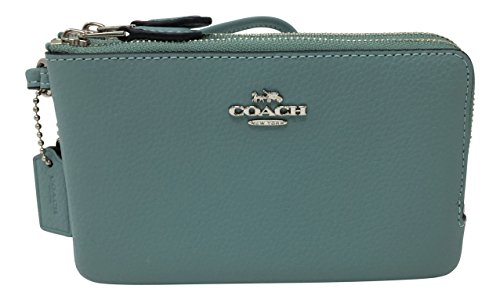 Coach Pebbled Leather Double Corner Zip Wristlet Aquamarine F87590 by Coach