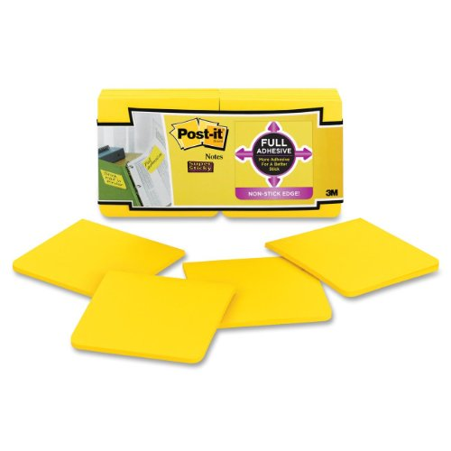 Post-it Super Sticky Full Adhesive Notes, 3 x  3-Inches, Electric Yellow, 12-Pads/Pack
