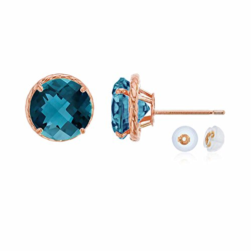 14K Rose Gold 7mm Round London Blue Topaz Rope Frame Stud Earring with Silicone Back