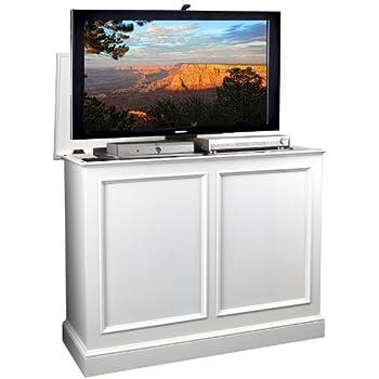 inc carousel white tv lift cabinet