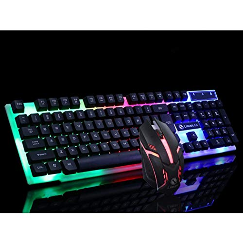 Jingjing1 Wired Keyboard Kit USB Natural Ergonomic Mechanical Keyboard Set Rainbow Illuminated Backlit 104 Keys for Business Home Office Desktop PC Computer Industrial Keyboard and Mouse with (Black)