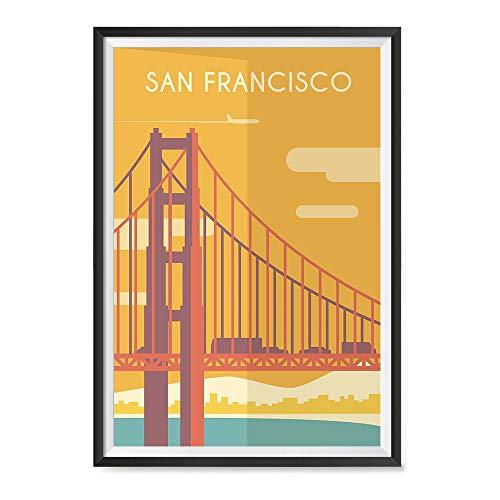 EzPosterPrints - Retro World Famous City Posters - Decorative, Vintage, Retro, Grunge Travel Poster Printing - Wall Art Print for Home Office - SAN-Francisco, USA - 16X24 inches (San Francisco City Wall Art)
