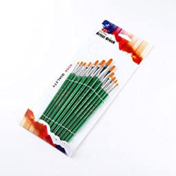 Pixnor Paint Brushes Set 12Pcs Professional Round Pointed Tip Nylon Paint Brushes for Watercolor Oil Acrylic Painting