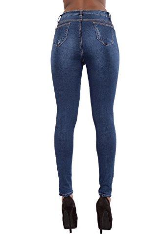 6 Pantaloni Comodi Lustychic Blu Lusty Blue Da nbsp;14 Alta Bianco Nero Vita Fit A nbsp;– Chic Donna Jeans Slim Donne Elasticizzato Skinny Taglia raanxHT